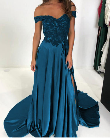 Image of Elegant Green Lace V-neck Off-the-shoulder Long Satin Split Prom Dresses