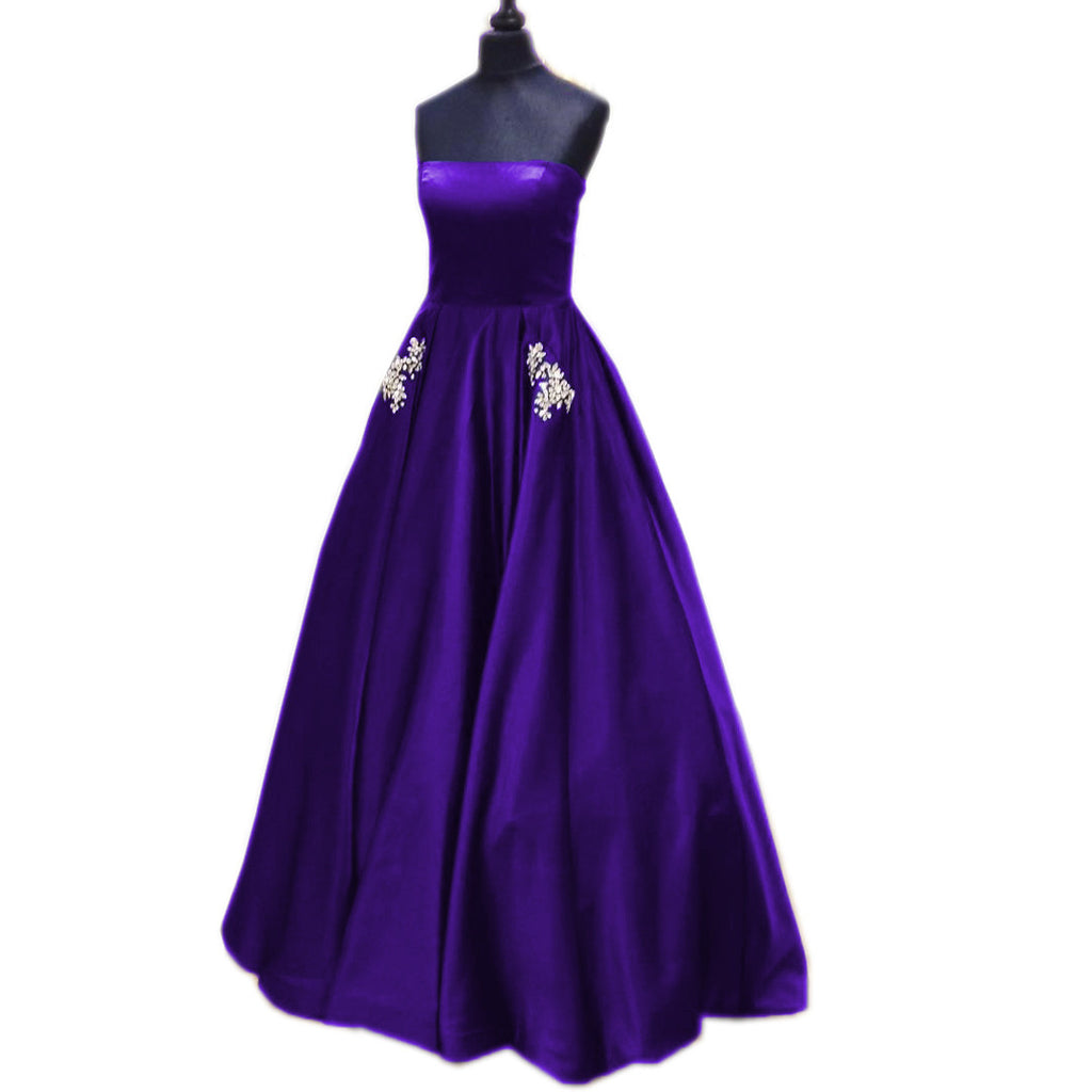 Strapless Satin Long Princess Style Prom Dresses With Pocket