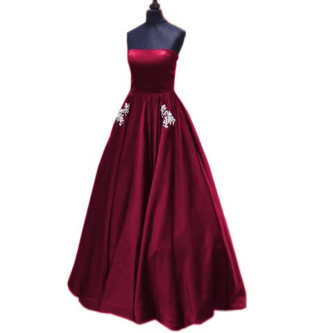 Image of Strapless Satin Long Princess Style Prom Dresses With Pocket