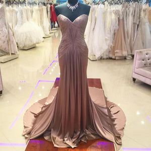 Coffee Satin Ruched Sweetheart Mermaid Prom Dresses 2017
