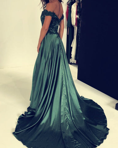 Image of Green Prom Dresses Lace Off Shoulder