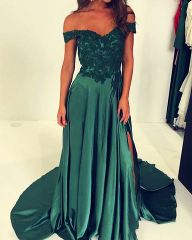 Image of Green Evening Dresses Off The Shoulder