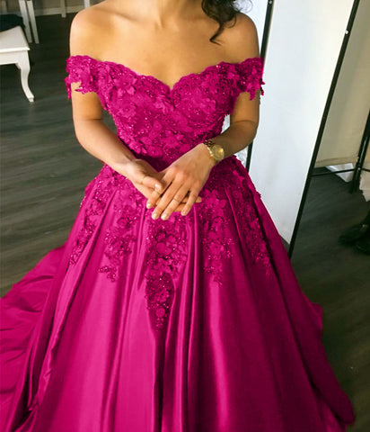Image of Elegant Flower And Lace Appliques V Neck Satin Prom Dresses 2019