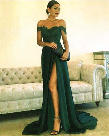 Image of Green Prom Dress Off The Shoulder