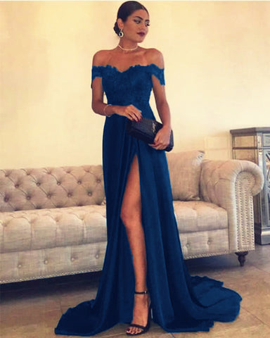Navy Blue Prom Dress Off The Shoulder
