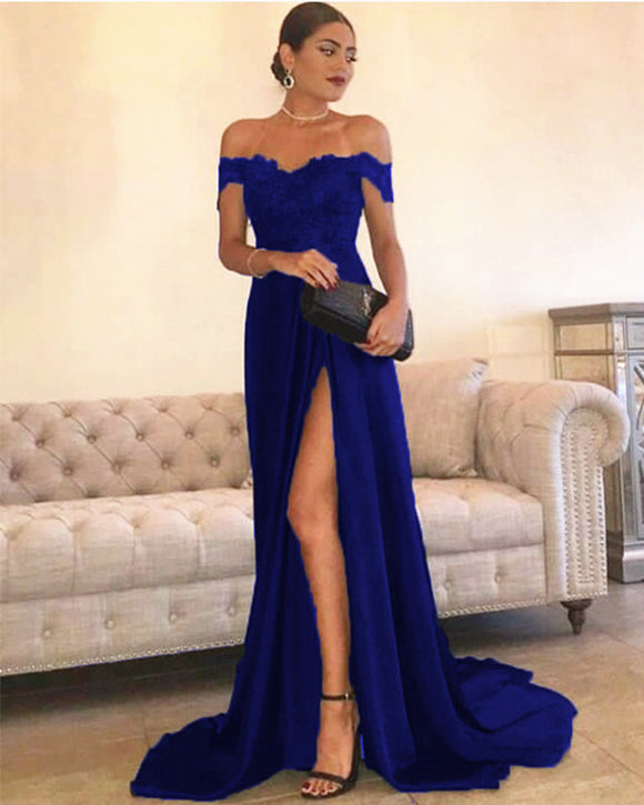 22b067f02b3 Royal Blue Prom Dresses 2019. Sexy Leg Slit Long Satin Sweetheart Prom  Dresses Lace Off The Shoulder Evening Gowns