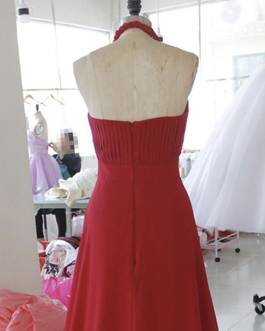 Deep Red Bridesmaid Dresses Chiffon