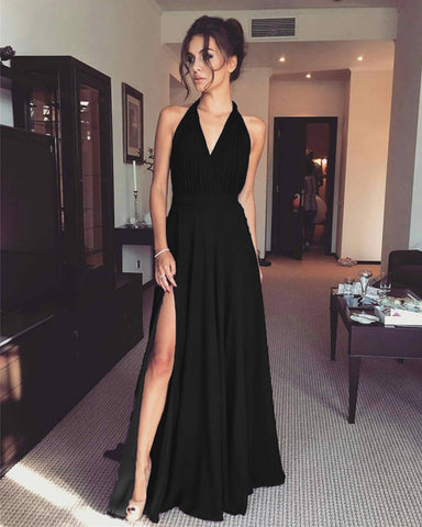 Black Bridesmaid Dresses Halter Top