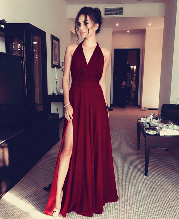 Burgundy Chiffon Bridesmaid Dresses Halter Neck