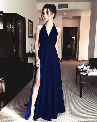 Sexy Long Chiffon Navy Blue Bridesmaid Dresses