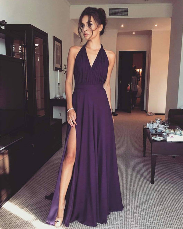Purple Bridesmaid Dresses Long Chiffon Party Dress