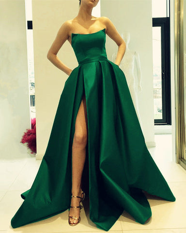 Image of Emerald Green Evening Strapless Dresses