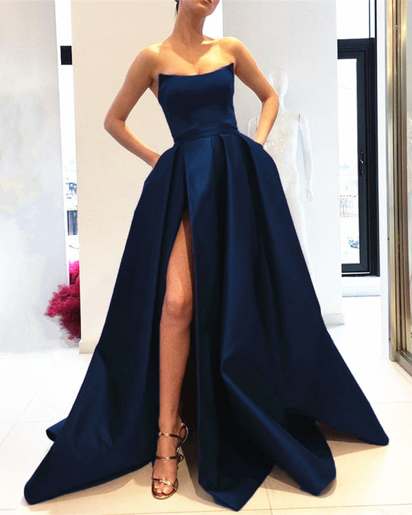 Navy Blue Long Satin Strapless Evening Dress