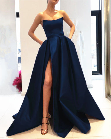 Image of Navy Blue Long Satin Strapless Evening Dress