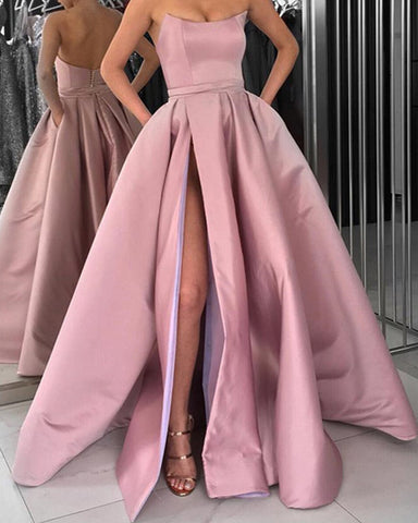 Image of Long Pink Formal Evening Gown