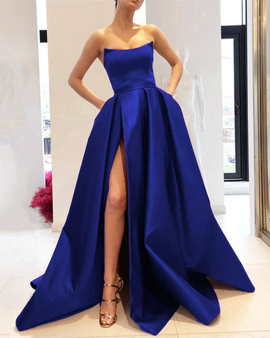 Image of Royal Blue Prom Dresses Strapless Evening Gown
