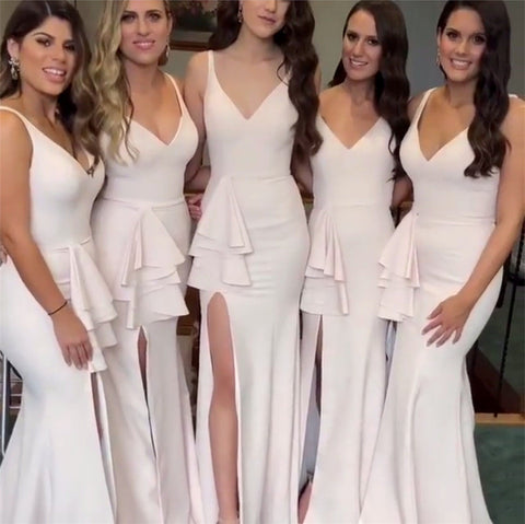 Image of Sexy-Bridesmaid-Gowns-V-neck-Prom-Dress-For-Wedding-Party