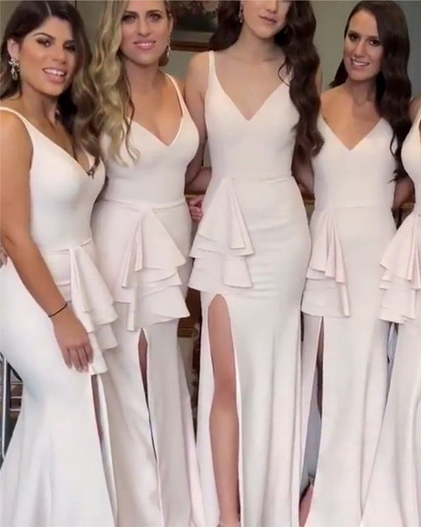 Elegant-V-neck-Mermaid-Leg-Slit-Dresses-Bridesmaids