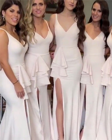 Image of Elegant-V-neck-Mermaid-Leg-Slit-Dresses-Bridesmaids