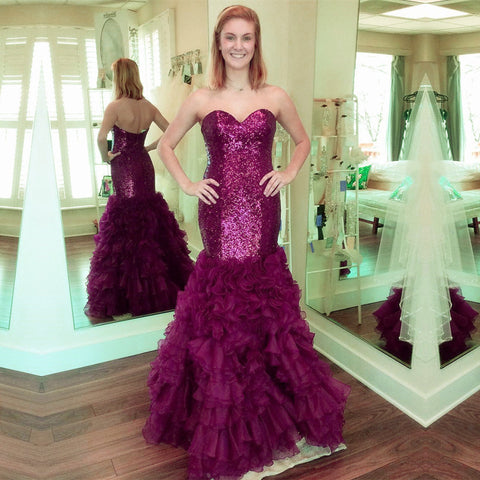 Image of Fully Sequin Sweetheart Organza Ruffles Mermaid Evening Gowns 2017