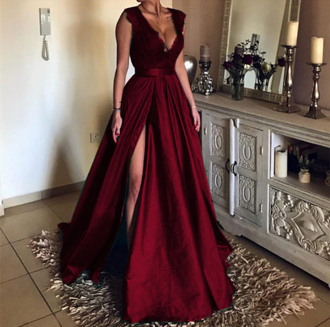 Image of Burgundy-Evening-Dresses-Long-Prom-Gowns-Modest