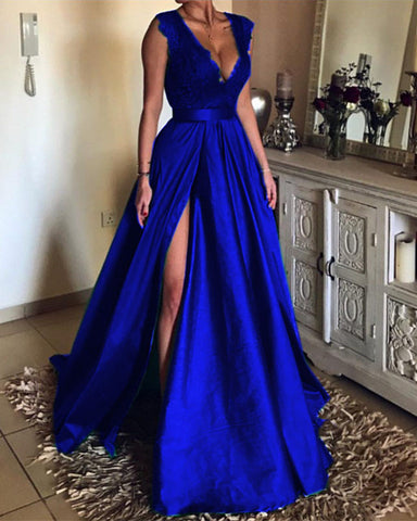 Image of Prom-Dresses-Long-Satin-Royal-Blue-Evening-Gowns