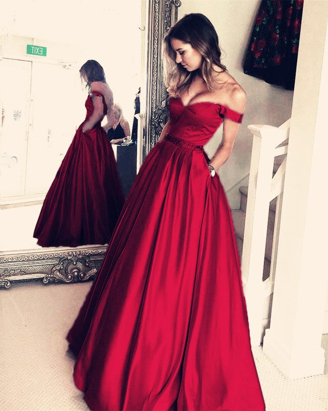 8a198e794a ... Dark Green Satin V-neck Prom Long Dresses Off Shoulder Evening Gowns  Beaded Sashes