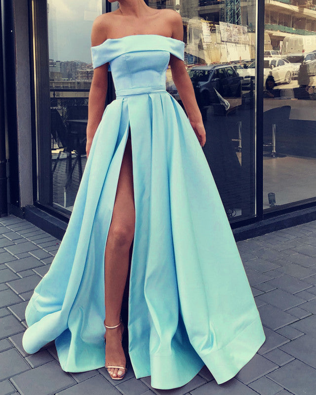 7555254397a Sexy Prom Dresses Long Off Shoulder Satin Split Evening Gowns ...