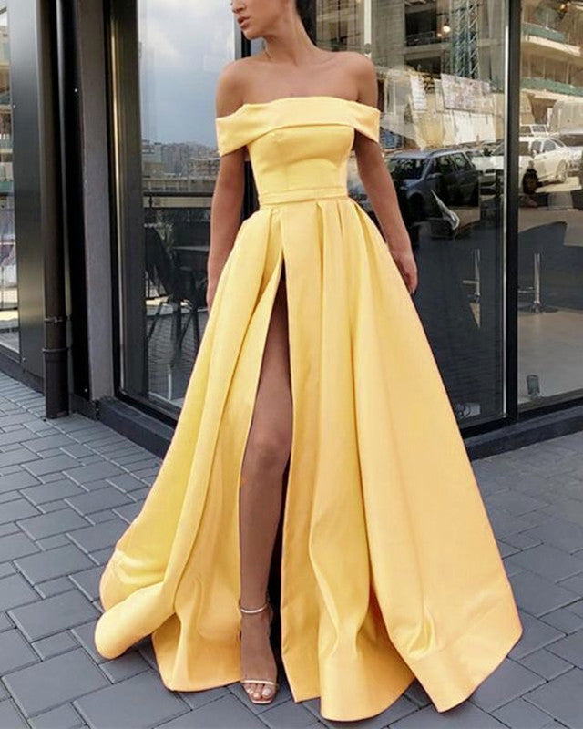bf6d06f3f3d Sexy Prom Dresses Long Off Shoulder Satin Split Evening Gowns ...