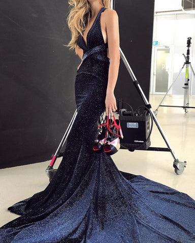 Mermaid Halter Ruffles Backless Sequin Evening Dress
