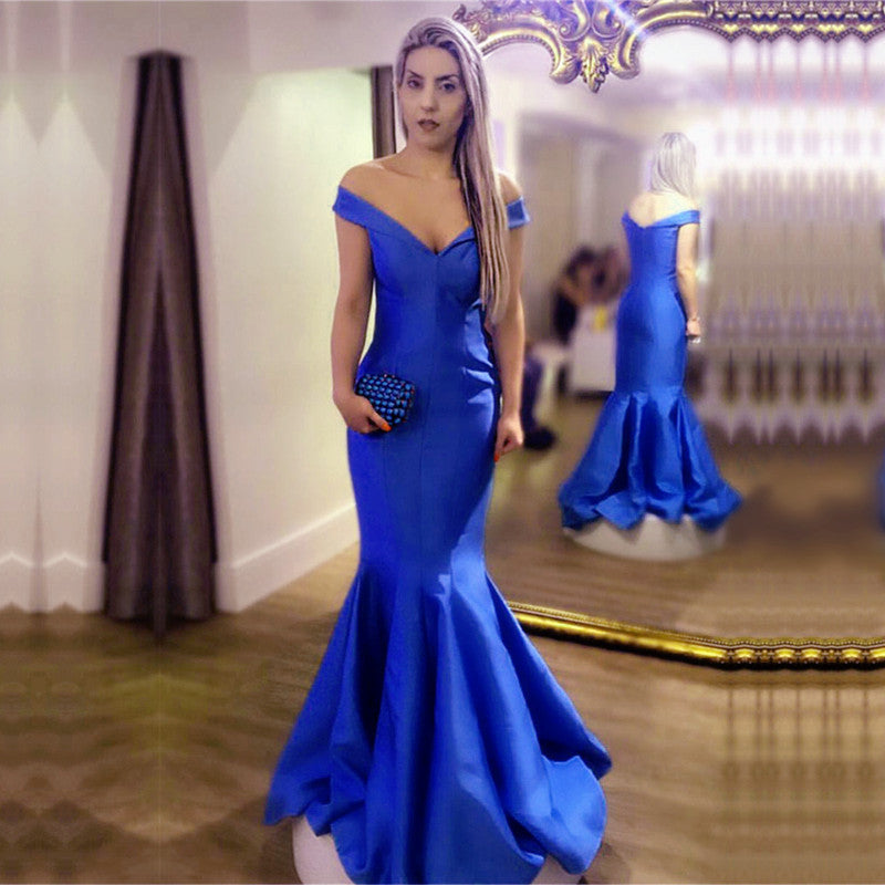 Sexy Off Shoulder V Neck Long Satin Evening Dresses Mermaid