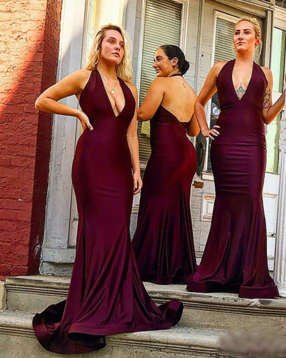 Long Satin Halter Mermaid Bridesmaid Dresses Open Back