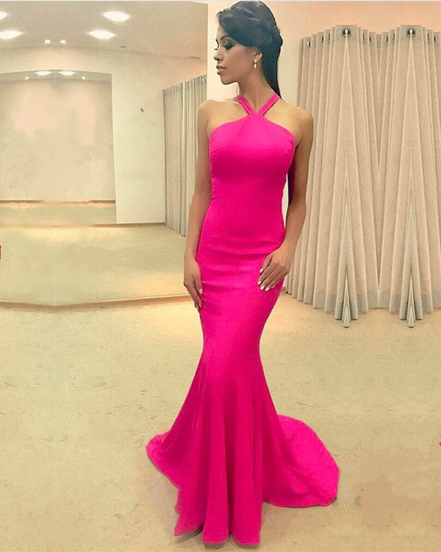 65931944f4 Sexy Halter Top Long Corset Mermaid Prom Dresses 2018 Formal Gowns. Double  tap to zoom