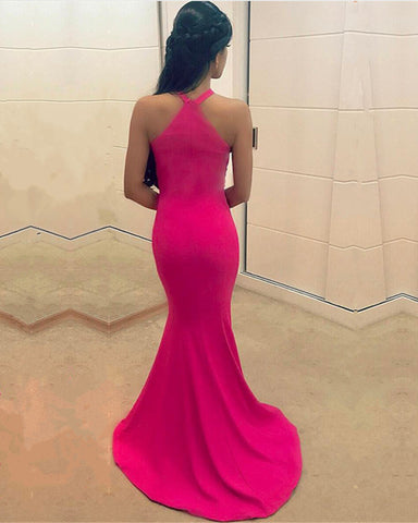 Image of Sexy Halter Top Long Corset Mermaid Prom Dresses 2018 Formal Gowns