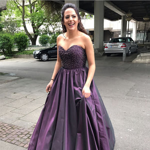 A Line Beaded Sweetheart Long Purple Satin Prom Dresses