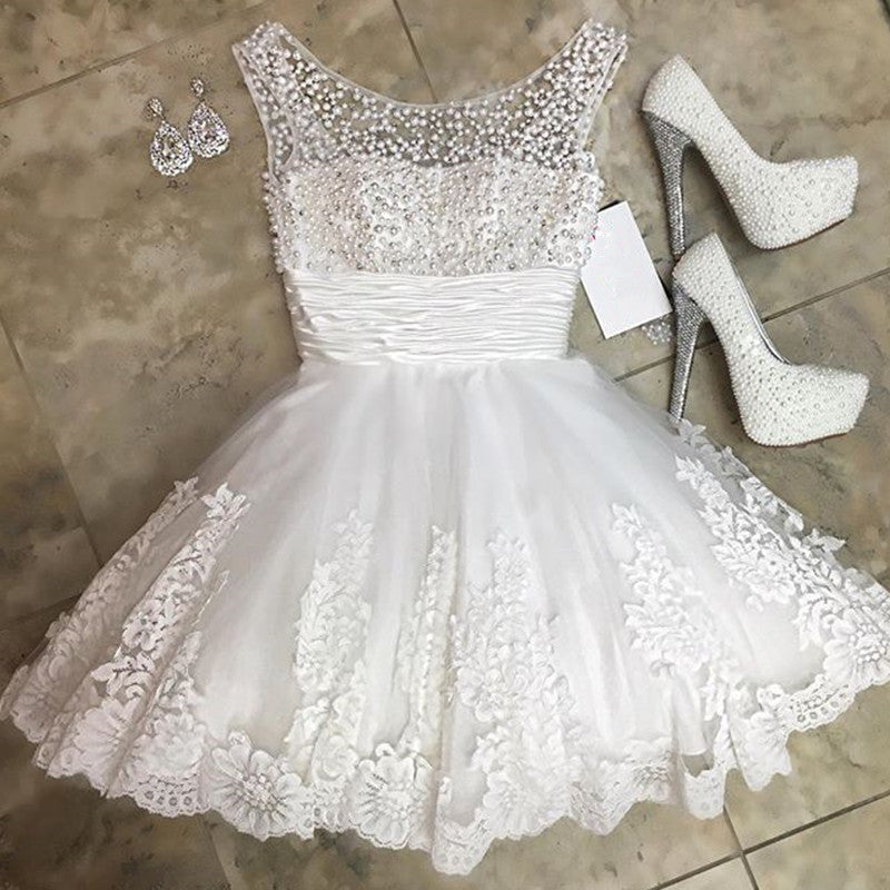 White Lace Homecoming Dresses Pearl Beading