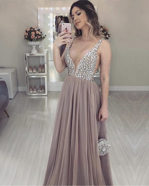 Nude-Tulle-Prom-Dresses-Floor-Length-Evening-Dress-Crystal-Beaded