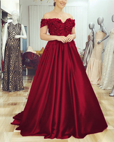 Image of Burgundy-Evening-Dresses-Lace-Off-Shoulder