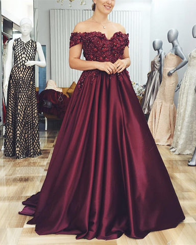Image of Grape-Prom-Dresses-Floor-Length-Ball-Gowns
