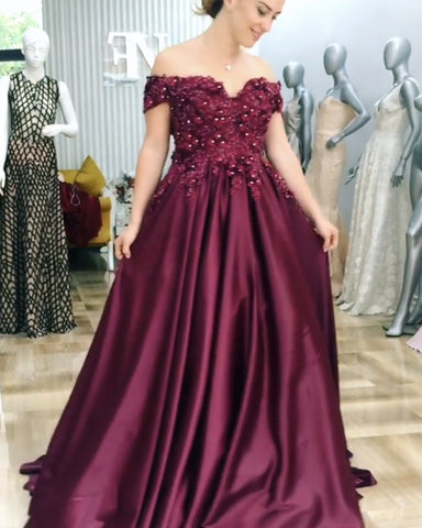 Image of A-line Floor Length Satin Evening Dress Lace Embroidery