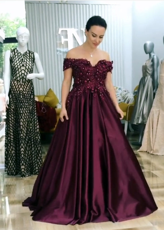 A-line Floor Length Satin Evening Dress Lace Embroidery