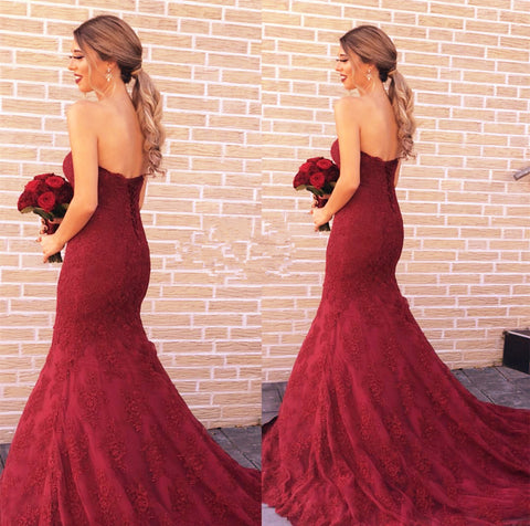 Image of Dark-Red-Prom-Mermaid-Gowns-Lace-Formal-Dress-2019