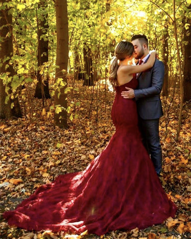 Image of Maroon-Lace-Formal-Mermaid-Gowns-For-Wedding-Photography