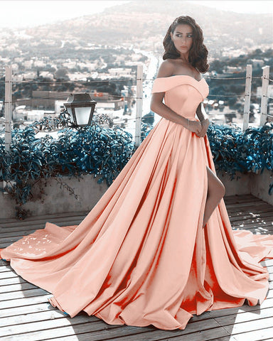 Image of Long Satin Prom Coral Dresses