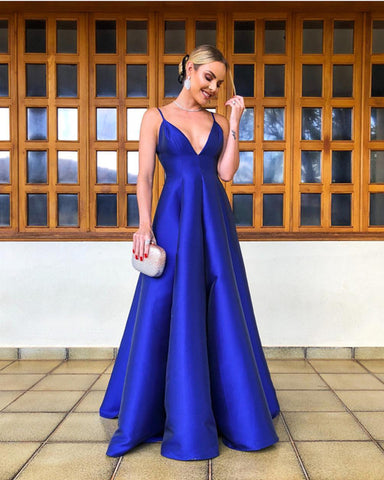 Image of Long-Prom-Gowns-2019-Royal-Blue-Evening-Dress