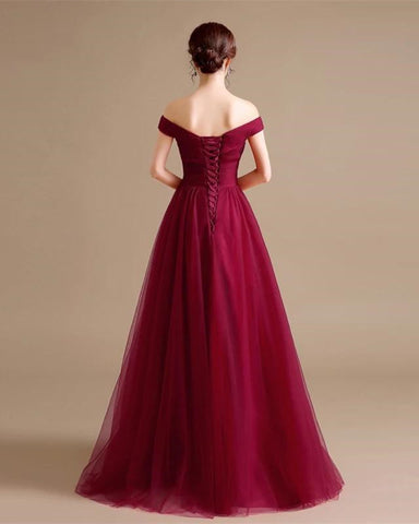 Image of Long Tulle Bridesmaid Dresses Burgundy