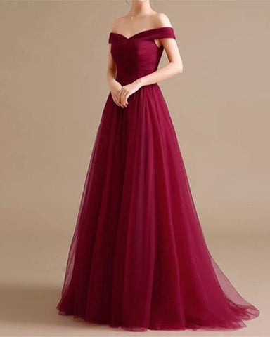 Image of Off Shoulder Tulle Bridesmaid Dresses Burgundy