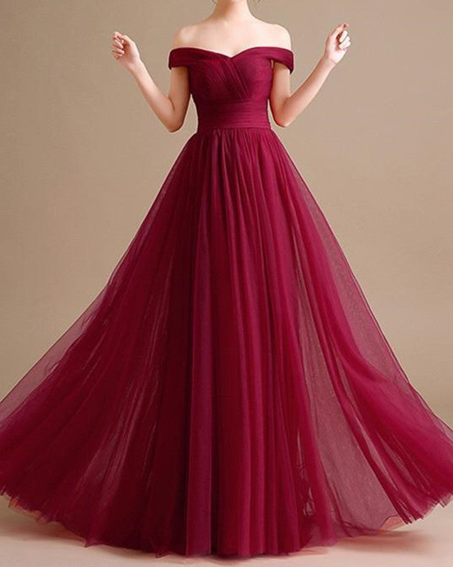 8fca554b13795 Sexy Long Tulle Bridesmaid Dresses Off The Shoulder – alinanova