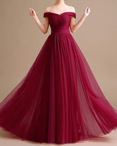 Image of Tulle Bridesmaid Dresses Burgundy