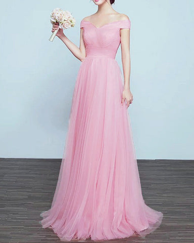 Image of Tulle Bridesmaid Dresses Blush Pink